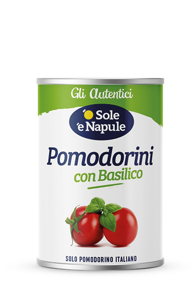 Pomodorini con basilico Latta 400 g